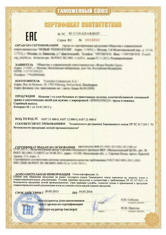 образец списка сертификатов